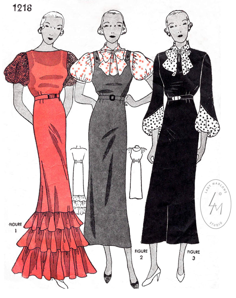 Simplicity 1218 1930s dress pattern evening gown or day dress