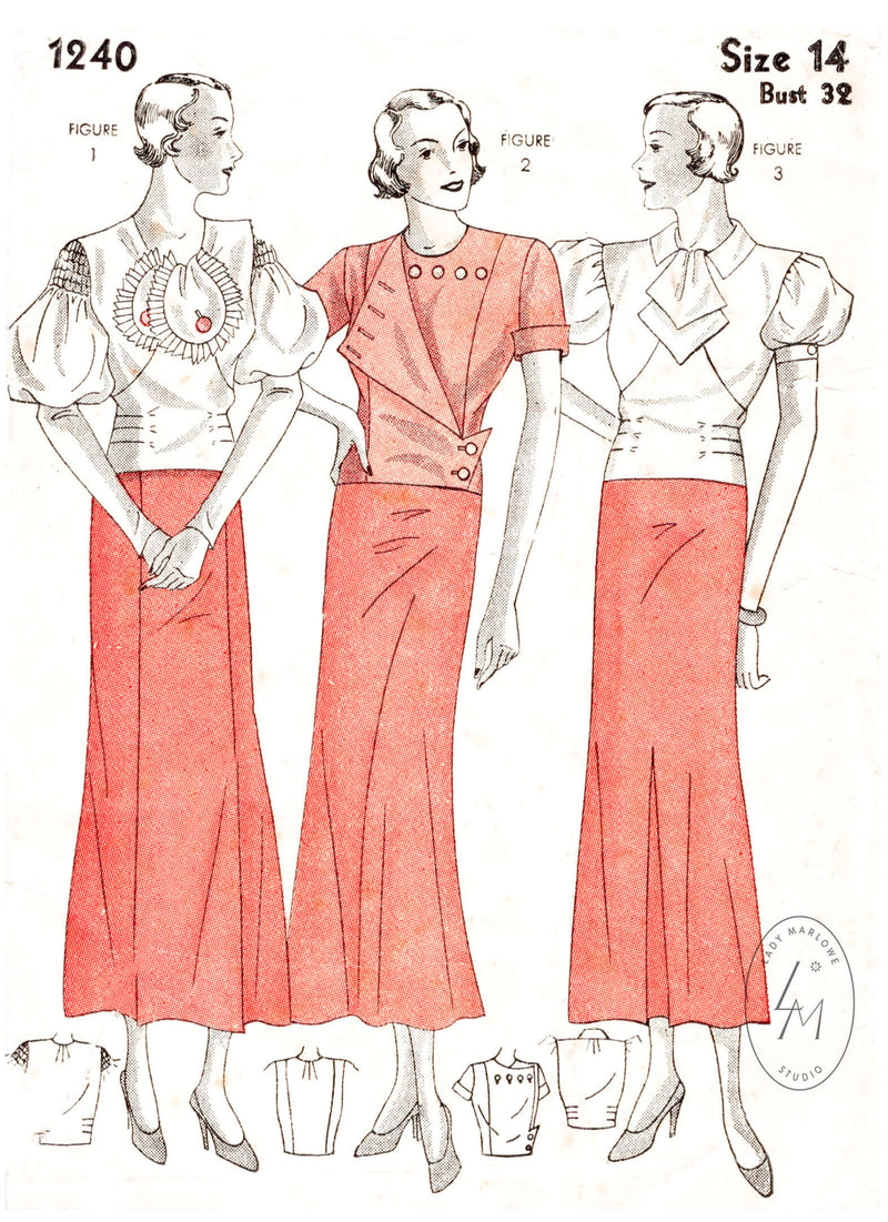 Simplicity 1240 1930s blouse trio art deco style vintage sewing pattern reproduction