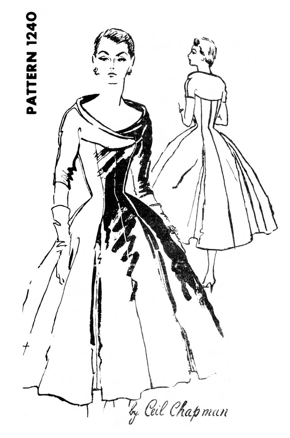 Spadea 1240 1950s 50s cocktail evening dress portrait neckline hourglass waist full skirt vintage sewing pattern reproduction