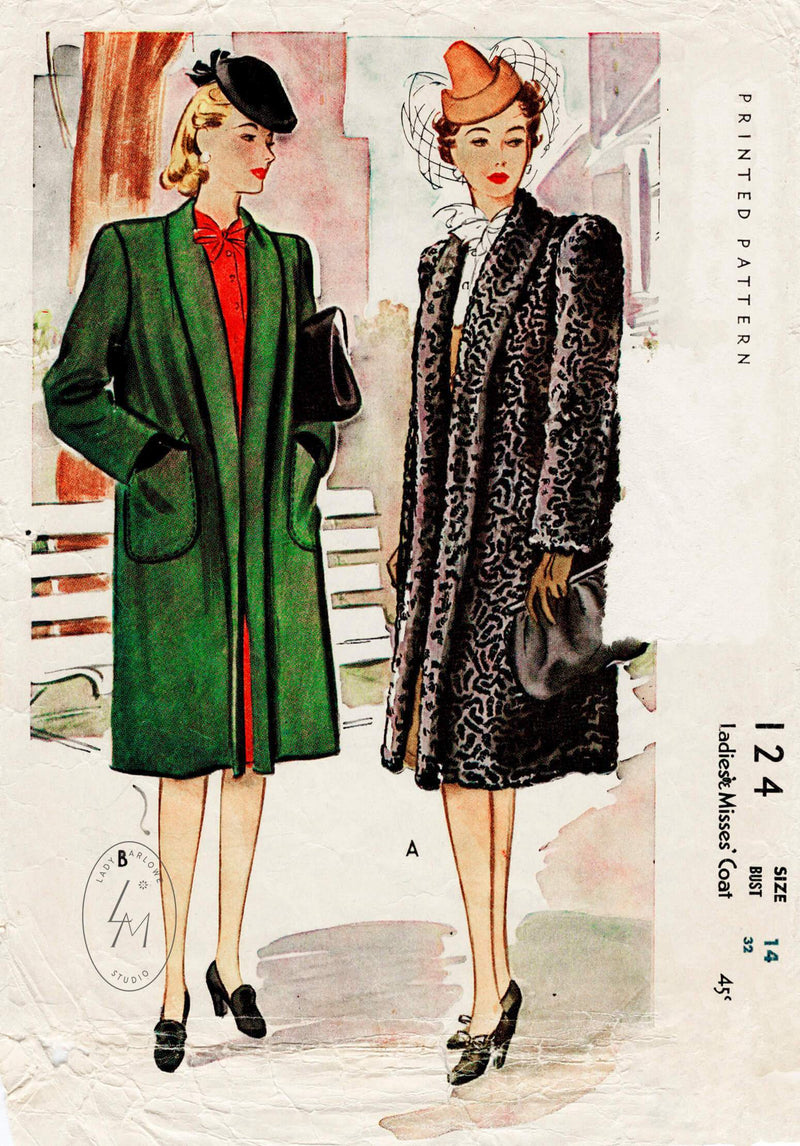McCall 124 1940s vintage sewing pattern 1940 40s boxy coat outerwear