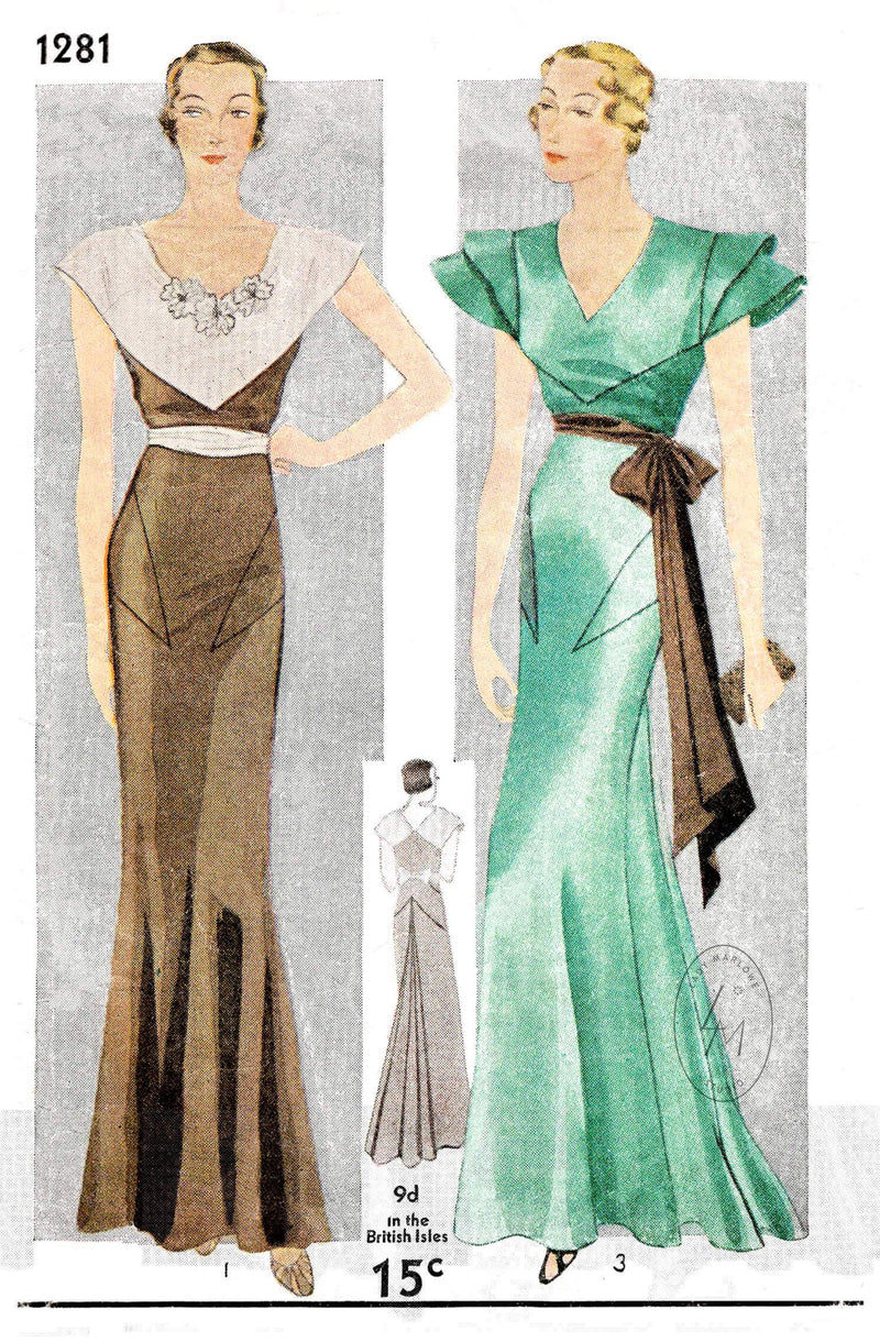 1930s 30s evening dress dinner gown Simplicity 1261 art deco seam detail vintage sewing pattern repro