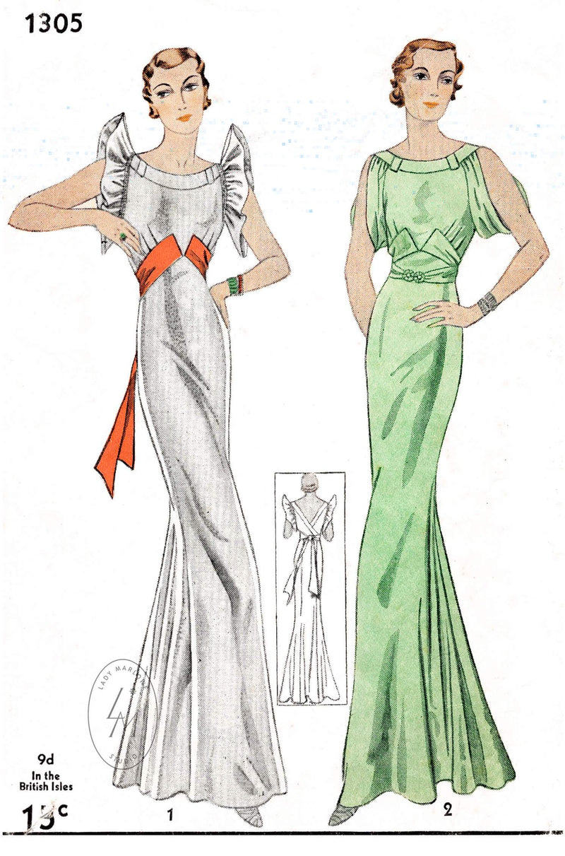 1930s 30s vintage evening gown Simplicity 1305 art deco style draped sleeves vintage sewing pattern reproduction