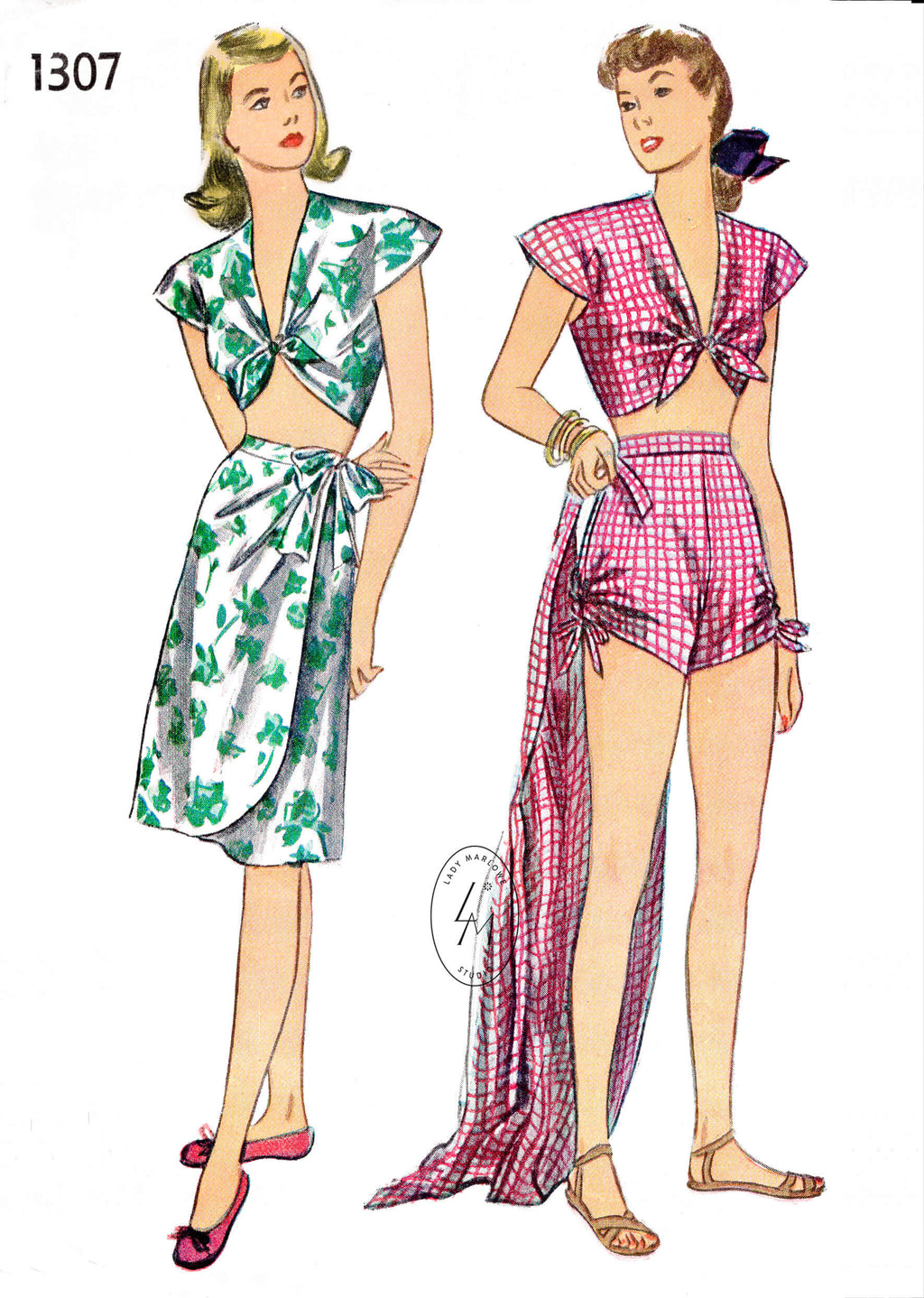 Simplicity 1307 1940s crop top, wrap skirt, high waisted shorts summer beachwear vintage sewing pattern reproduction