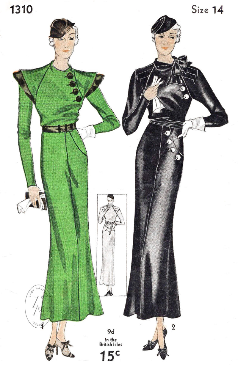 Simplicity 1310 1930s vintage sewing pattern reproduction art deco dress