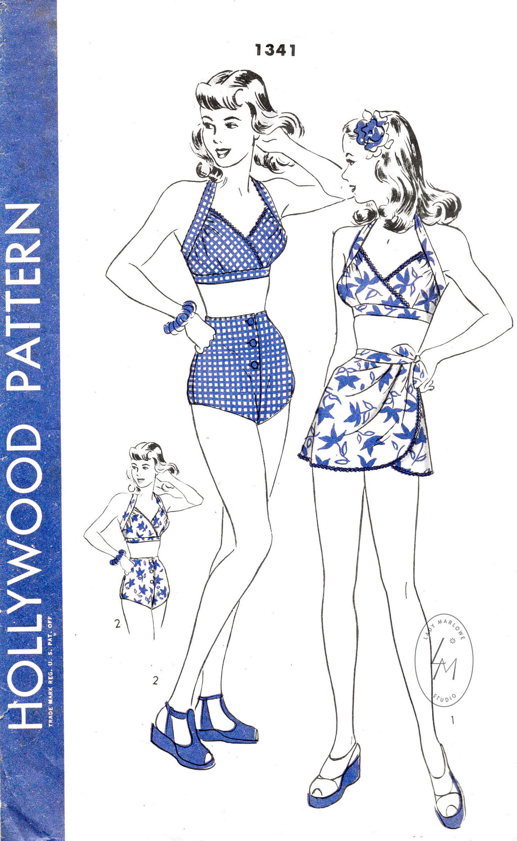 1940s 1946 Hollywood 1341 vintage bathing suit bikini high waist shorts & wrap skirt sewing pattern