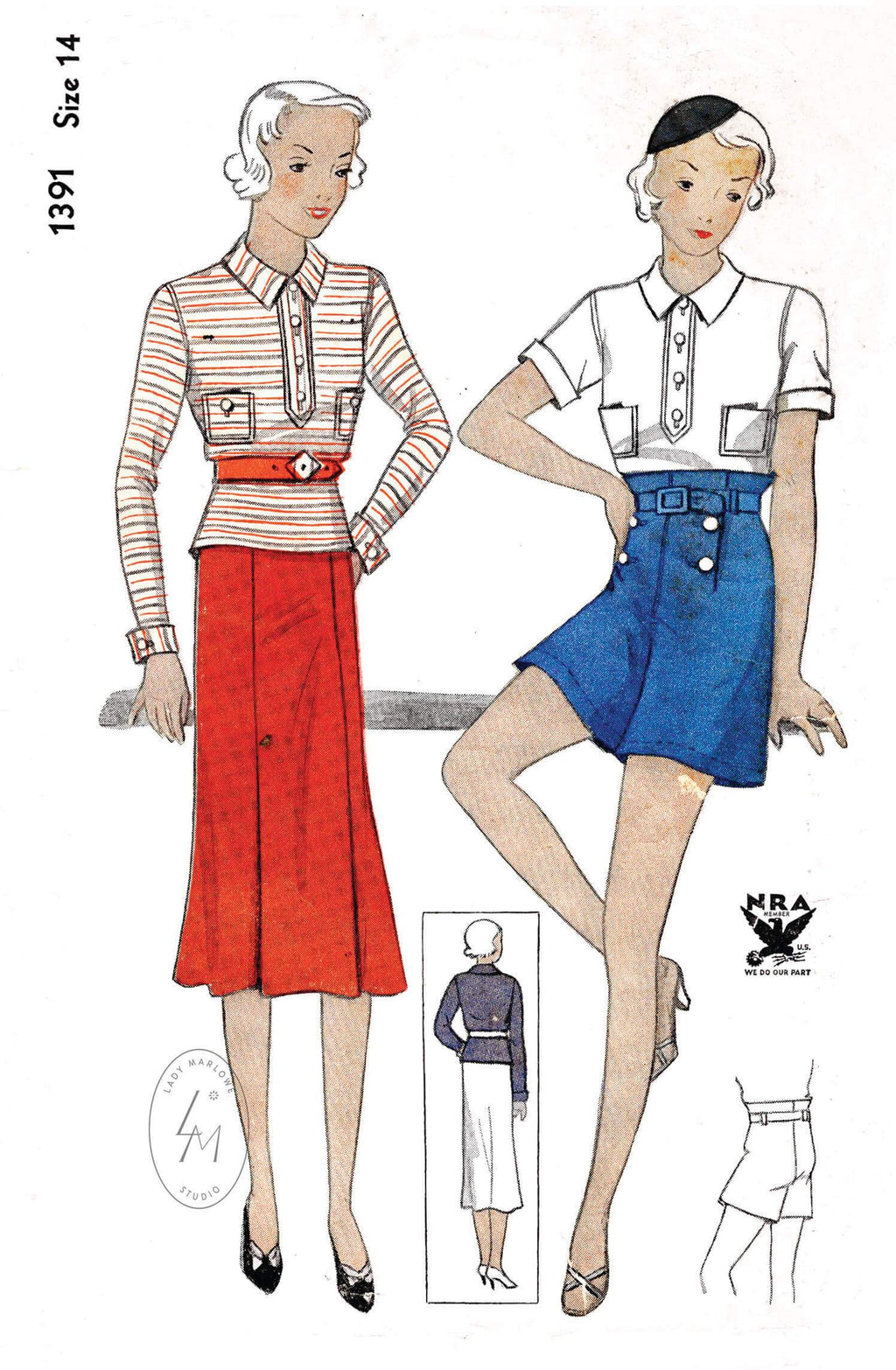 Simplicity 1391 1930s sportswear 3 piece ensemble high waist shorts polo shirt & skirt vintage sewing pattern repro