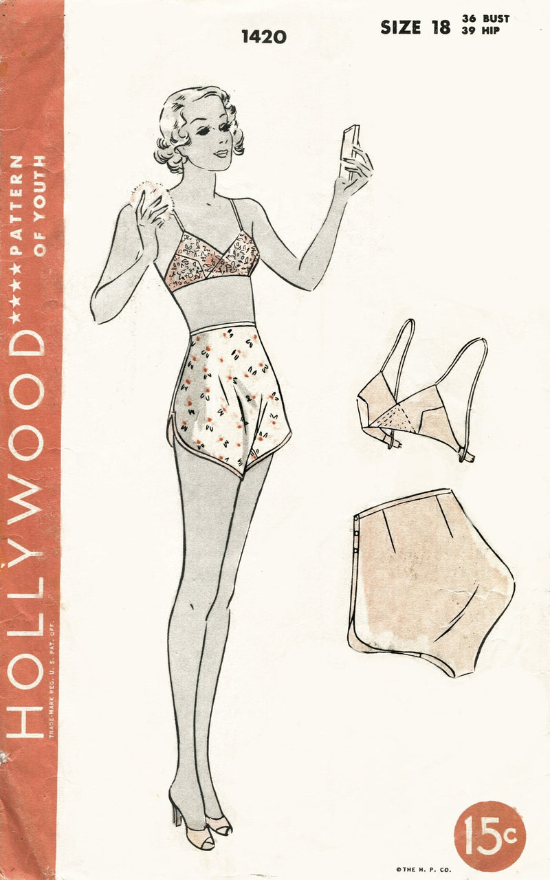 Hollywood 1420 bra and tap shorts vintage lingerie sewing pattern