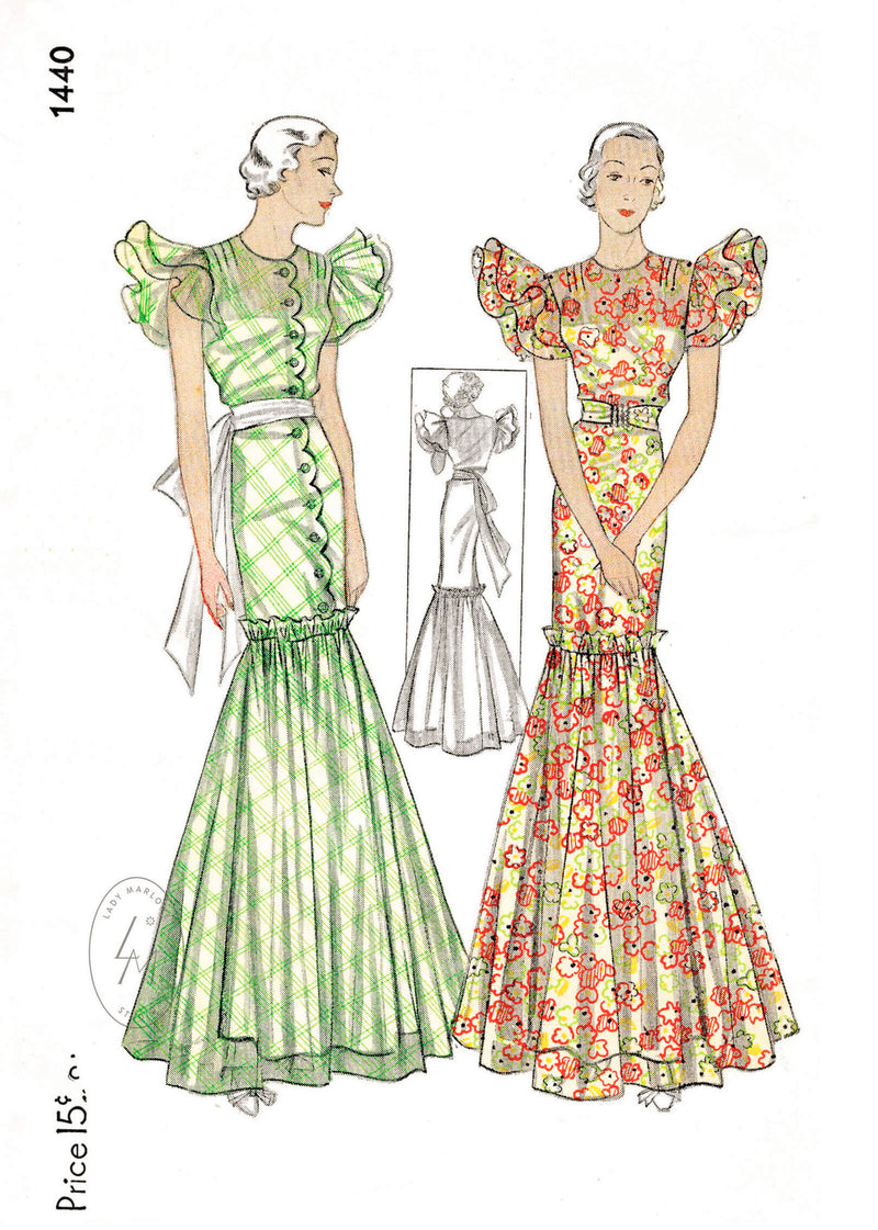 1930s evening gown vintage dress sewing pattern reproduction flutter sleeves full skirt Simplicity 1440