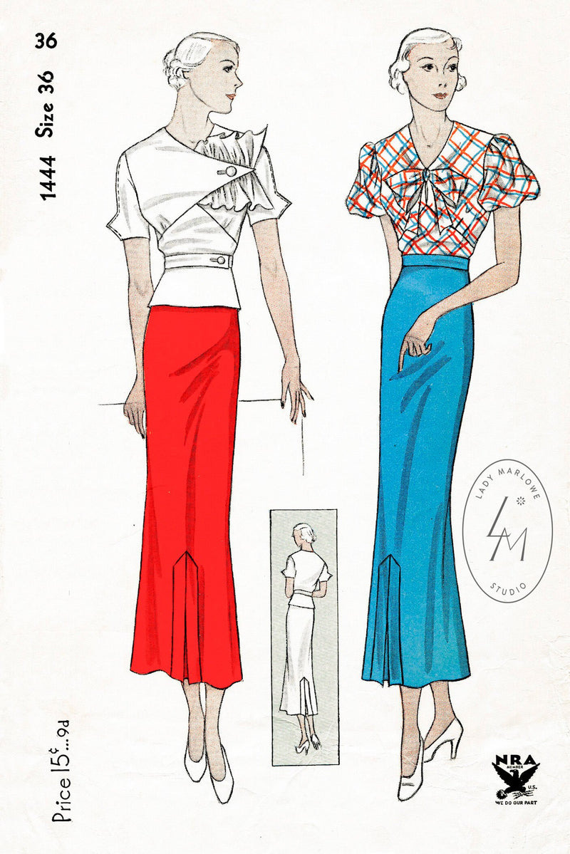 Simplicity 1444 1930s blouse skirt vintage sewing pattern