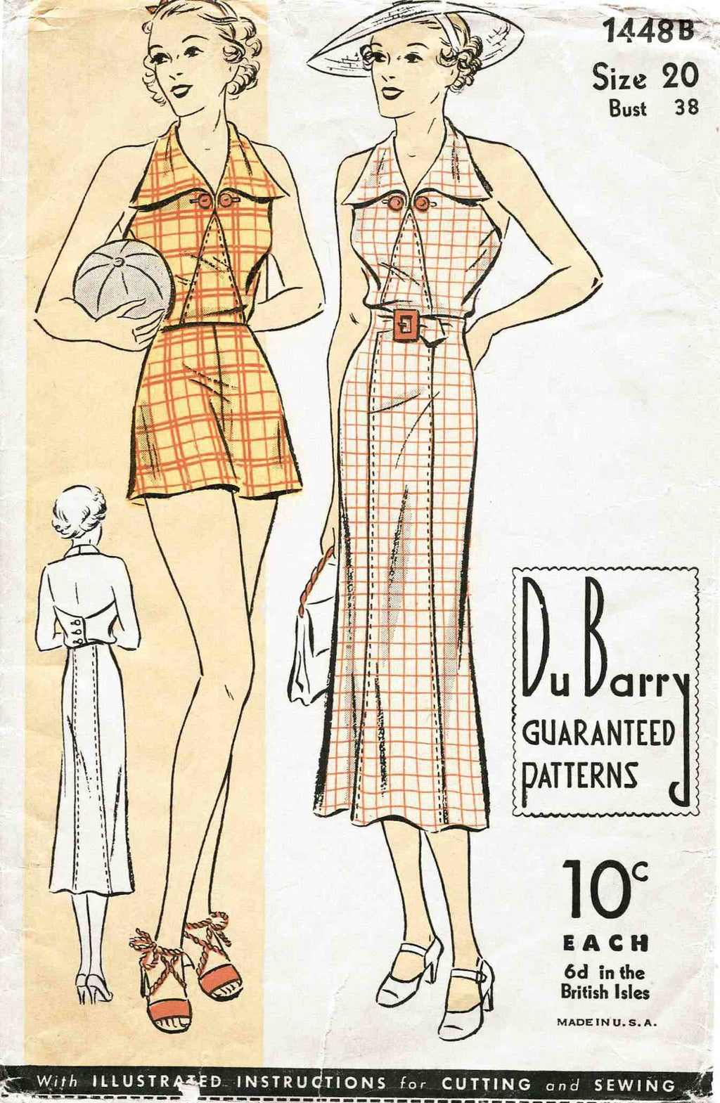 1930s beachwear playsuit sun dress vintage sewing pattern ...