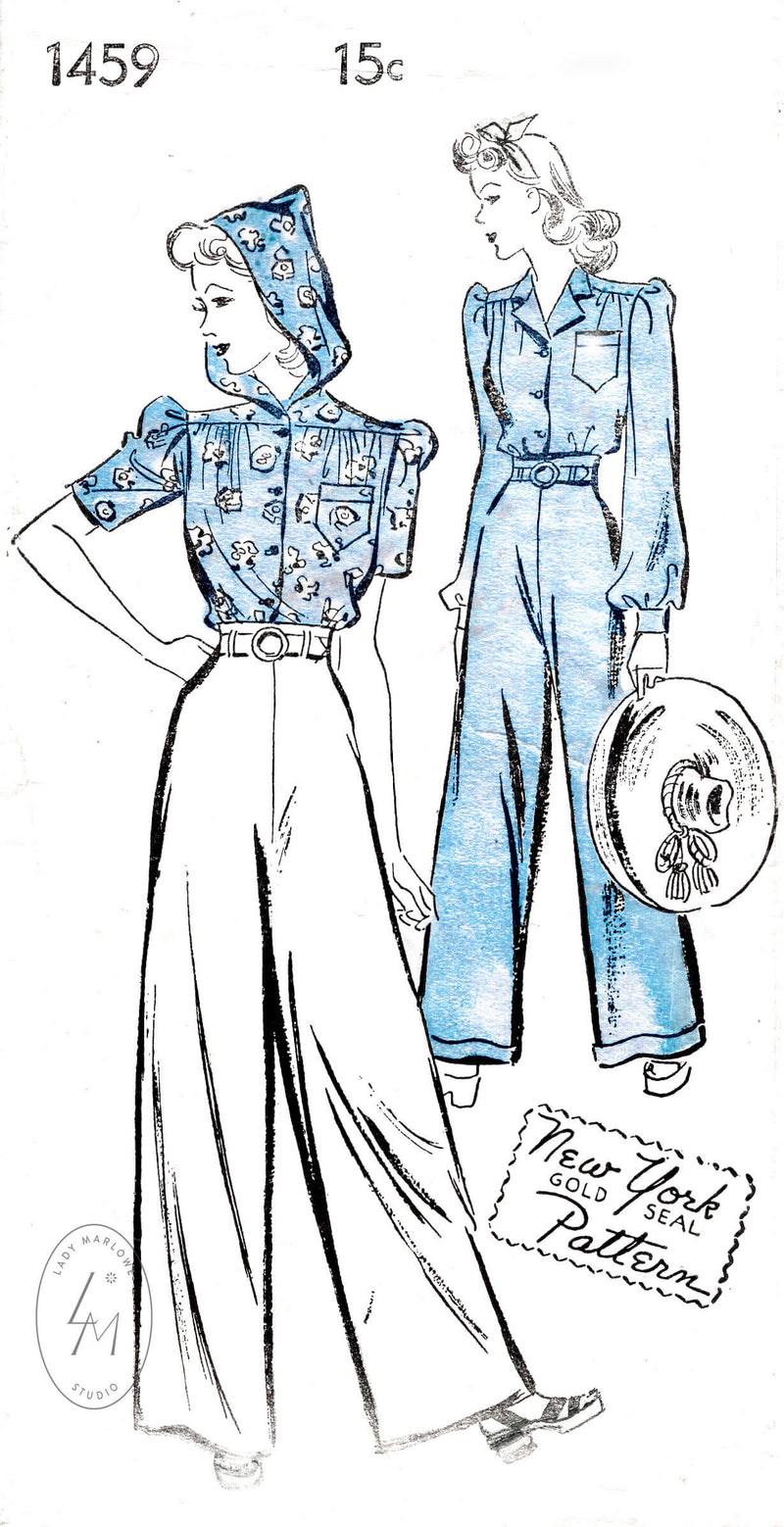 NY 1459 1940s Rosie the Riveter workwear blouse and trousers vintage sewing pattern reproduction