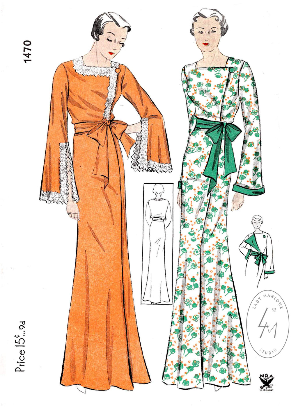 Simplicity 1470 1930s 1934 lace inset robe lingerie sewing pattern reproduction