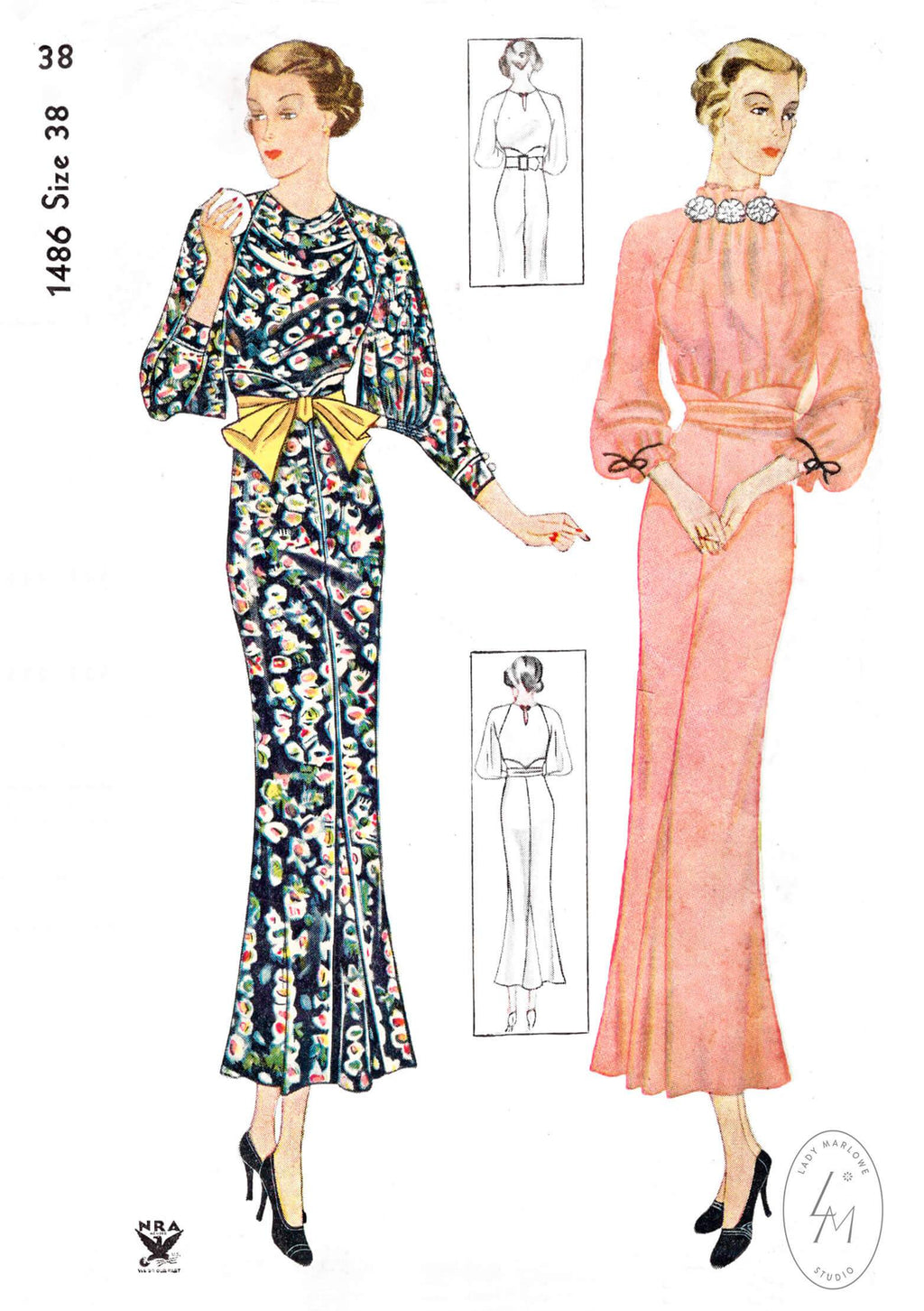 Simplicity 1486 1930s 1934 art deco day dress draped neckline vintage sewing pattern reproduction