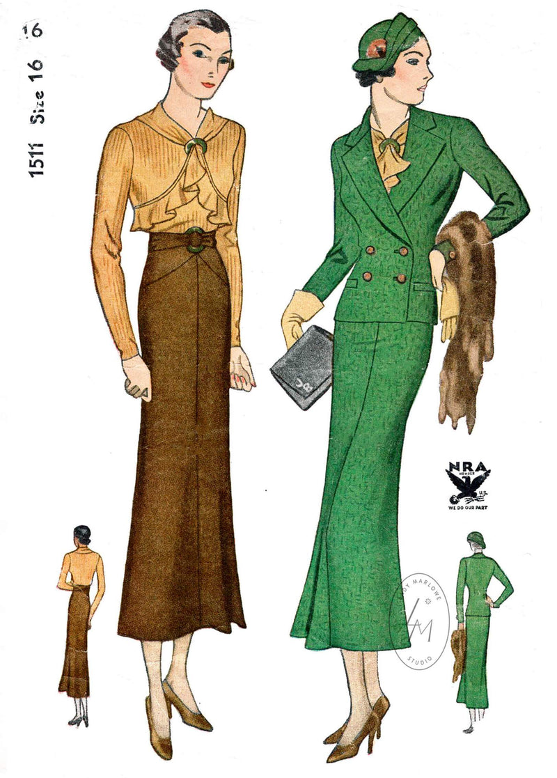 1930s 30s 3 piece ensemble blouse skirt double breasted suit jacket Simplicity 1511 art deco seam detail vintage sewing pattern reproduction