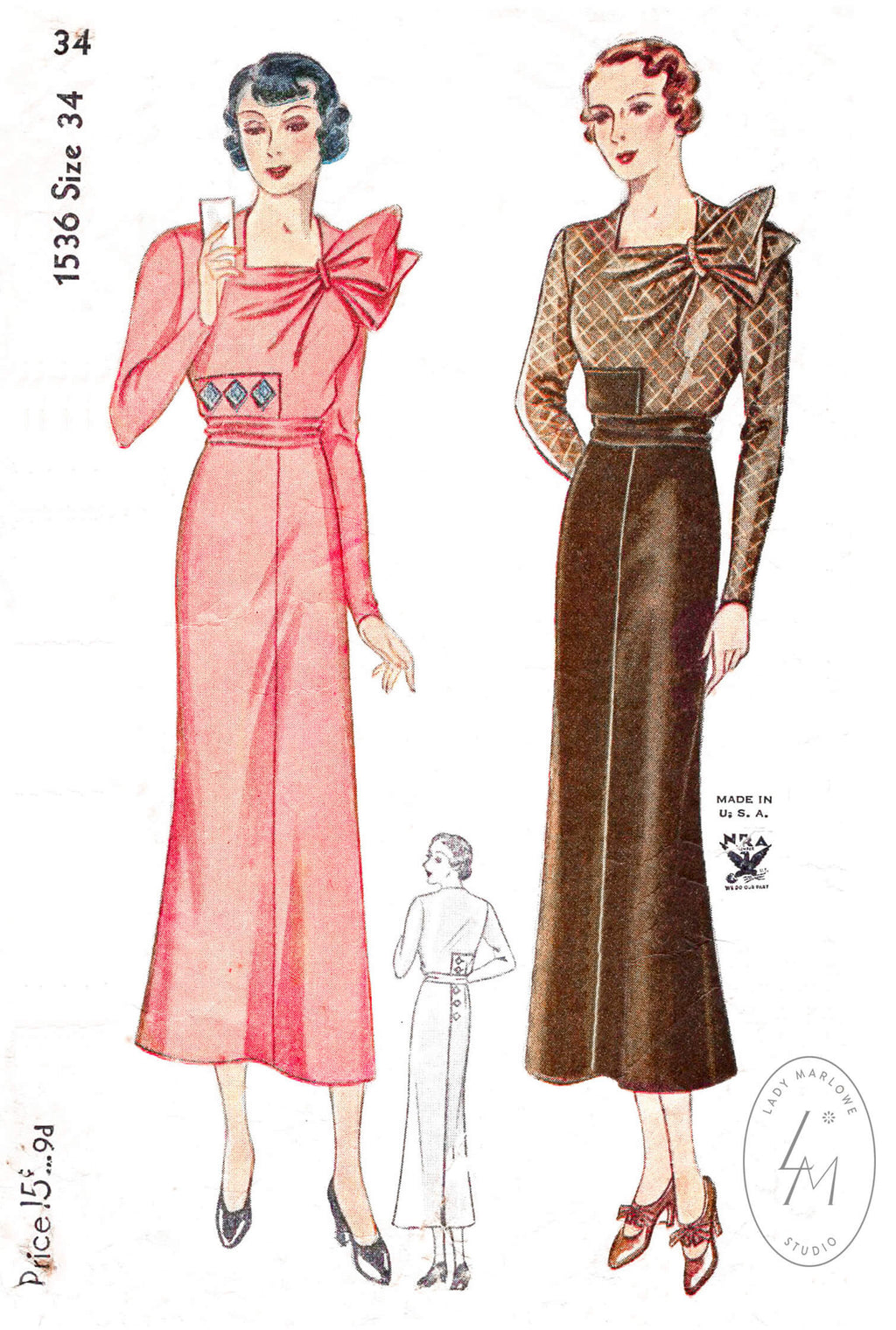 1930s Simplicity 1536 dress pattern vintage sewing pattern
