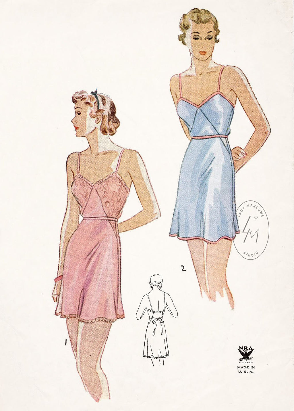 1930s 30s Simplicity 1551 vintage lingerie sewing pattern step in teddy romper reproduction