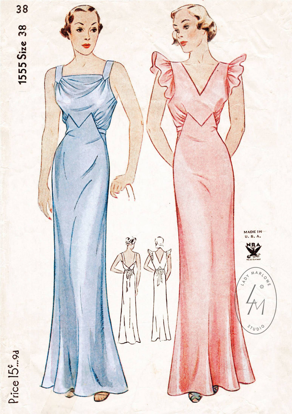 Simplicity 1555 1930s evening slip dress vintage sewing pattern