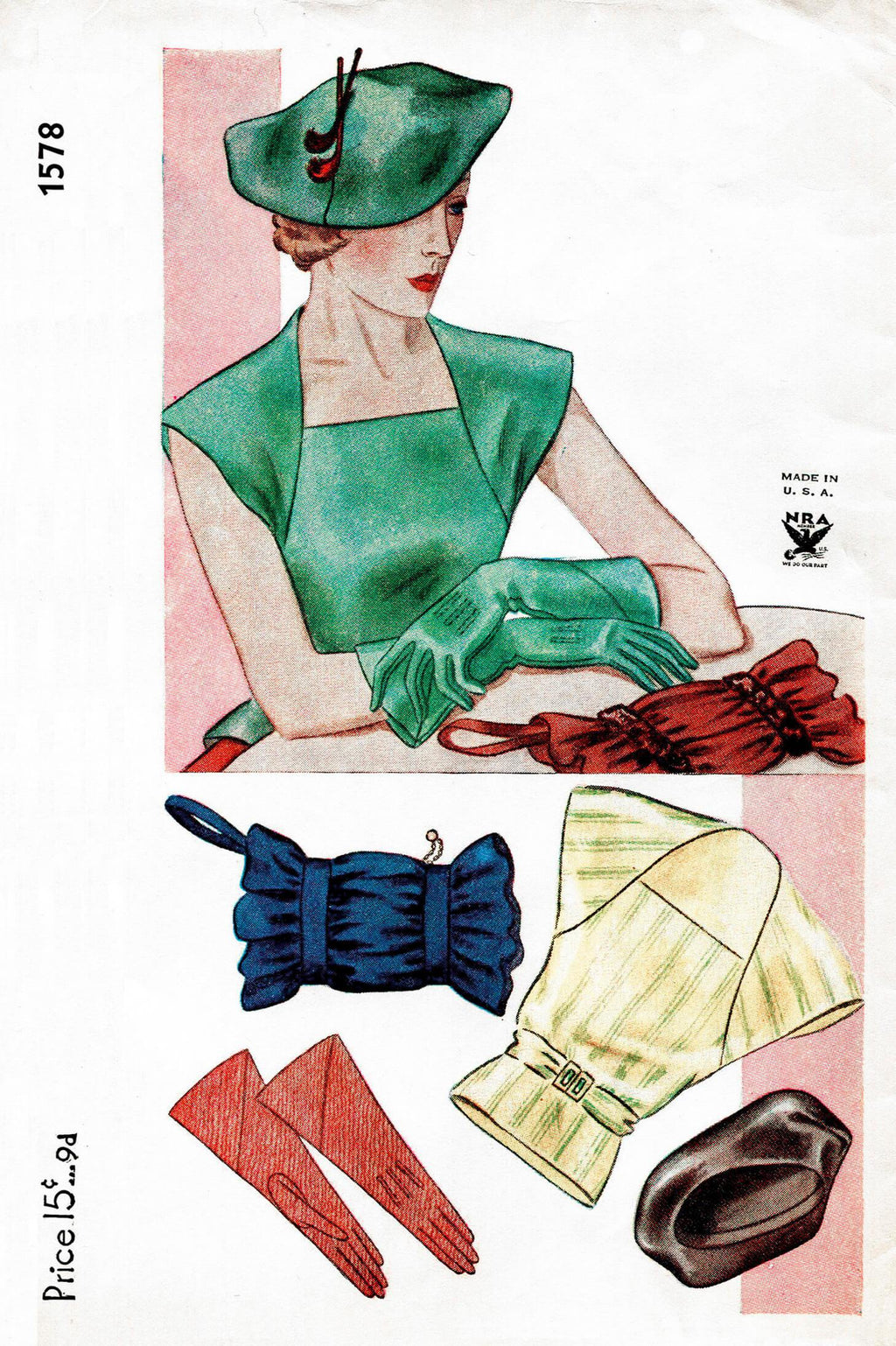1930 1930s vintage sewing pattern Simplicity 1578 gloves accessories hat PDF