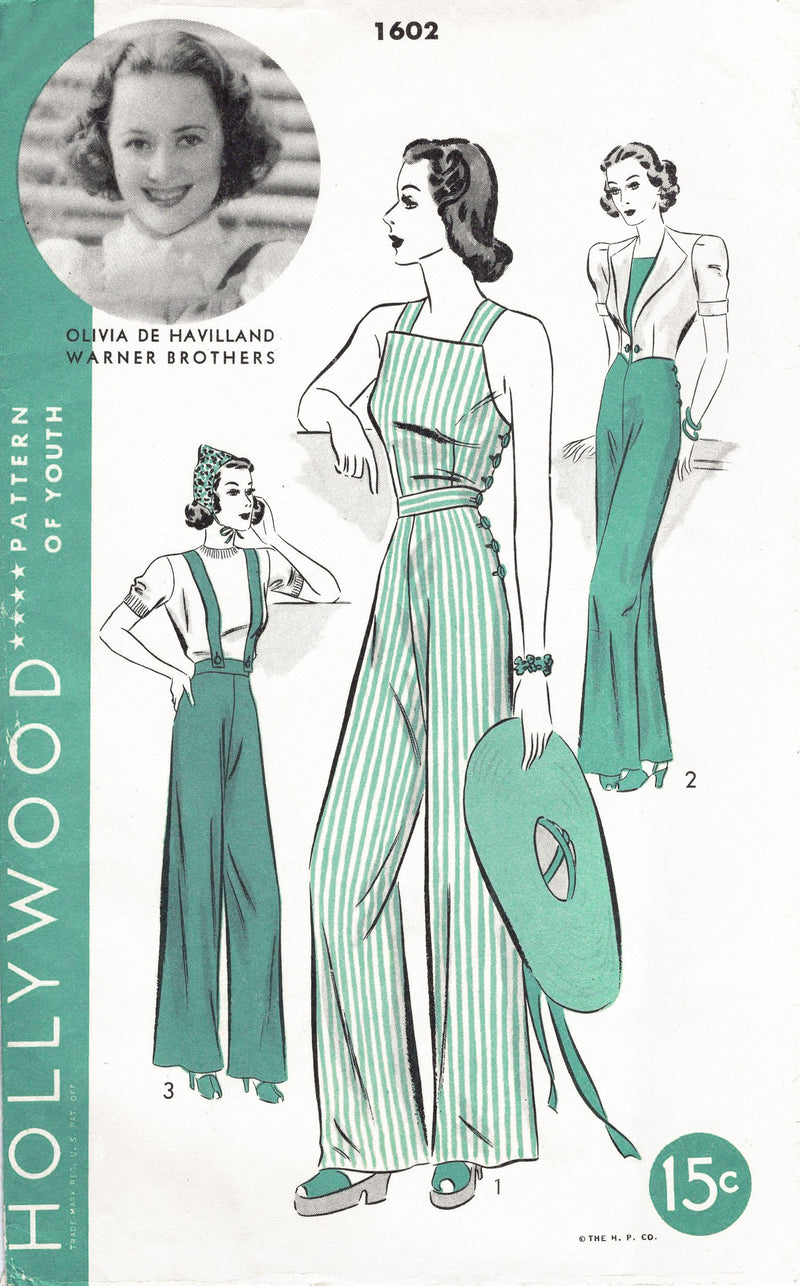 1940s vintage workwear sewing pattern reproduction Hollywood 1602