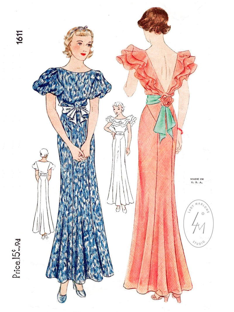 Simplicity 1611 1930s evening gown flutter sleeves vintage sewing pattern reproduction