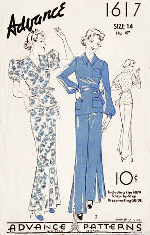 Advance 1617 1930s pajamas vintage sewing pattern