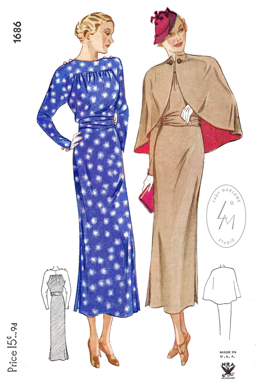 Simplicity 1686 1930s 1935 cape and dress vintage sewing pattern reproduction