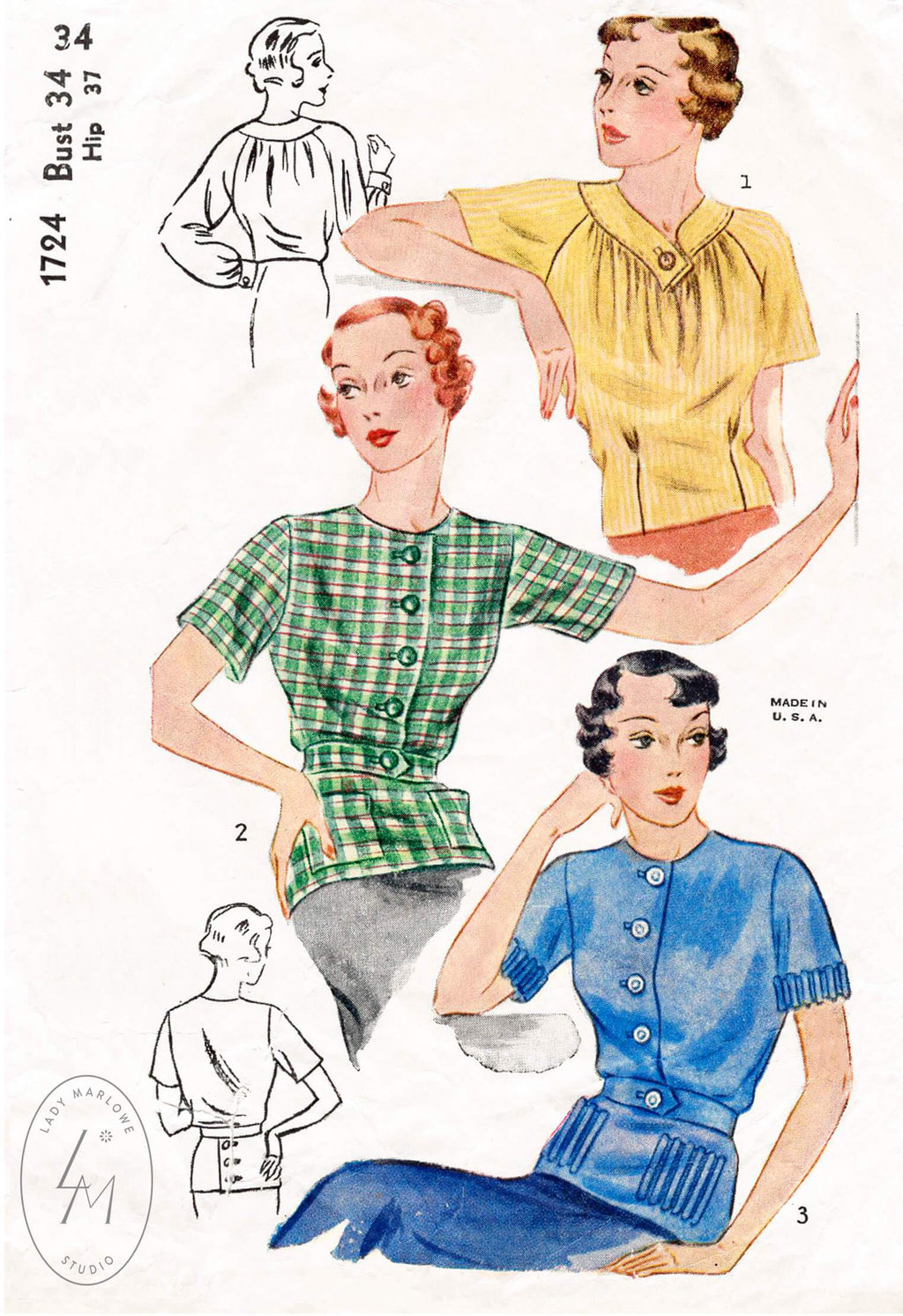 1930s Simplicity 1724 set of blouses tops 1930s vintage sewing pattern reproduction