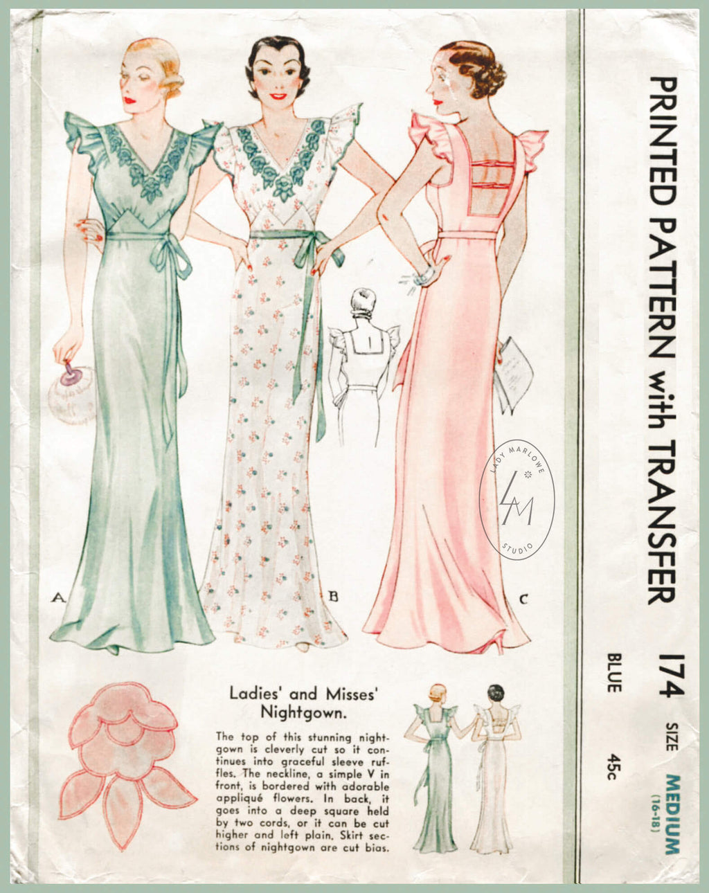 McCall 174 1930s vintage lingerie sewing pattern