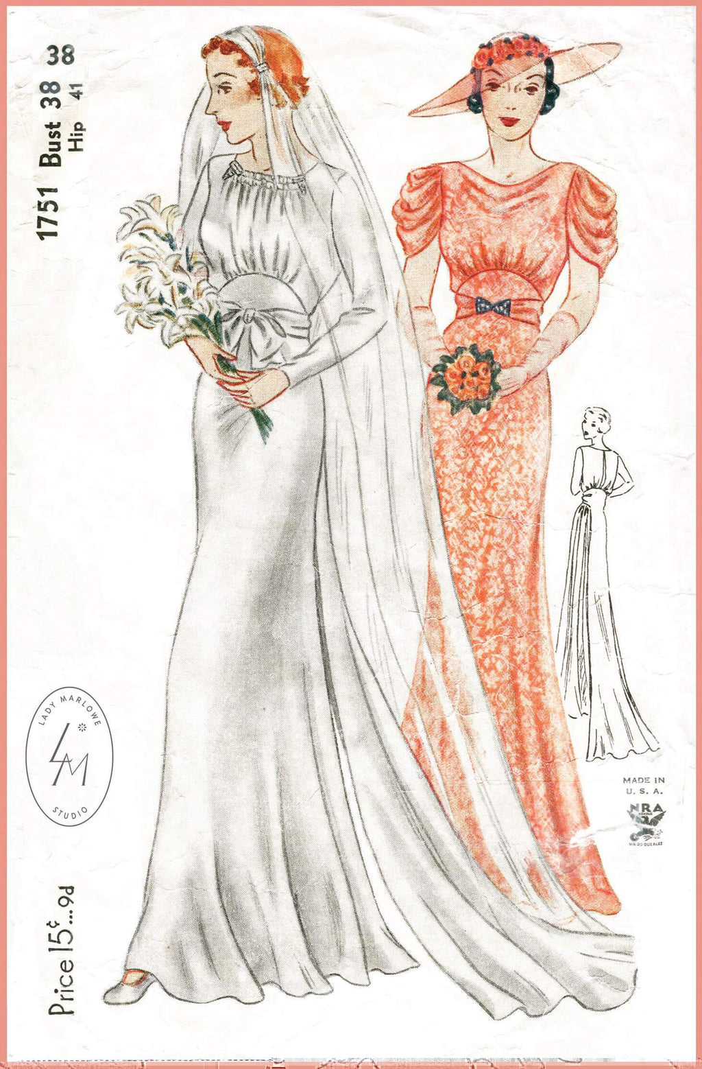 Simplicity 1751 1930s vintage wedding gown sewing pattern 1930 30s evening dress