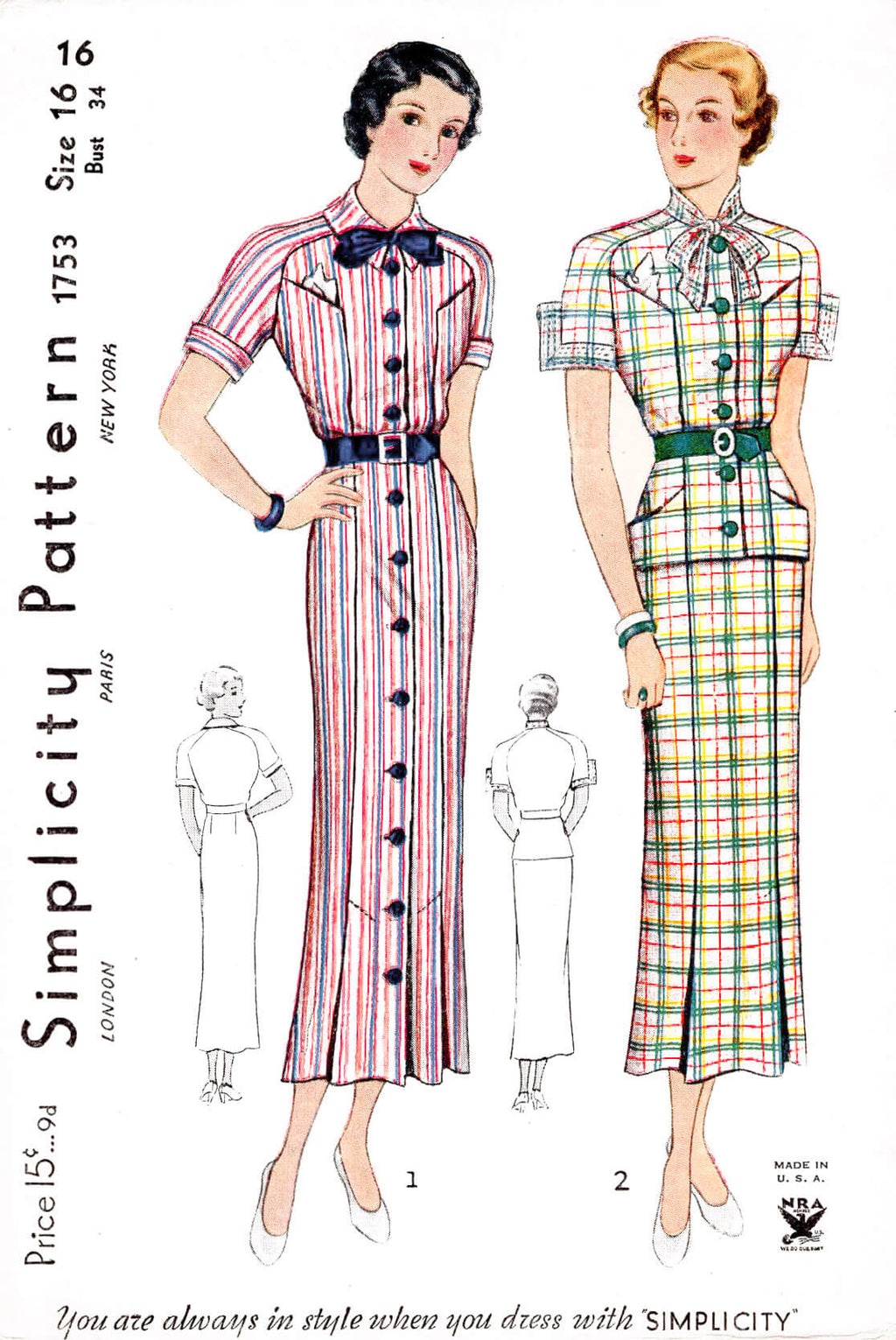 1930s Simplicity 1753 day dress peplum blouse pencil skirt vintage sewing pattern reproduction