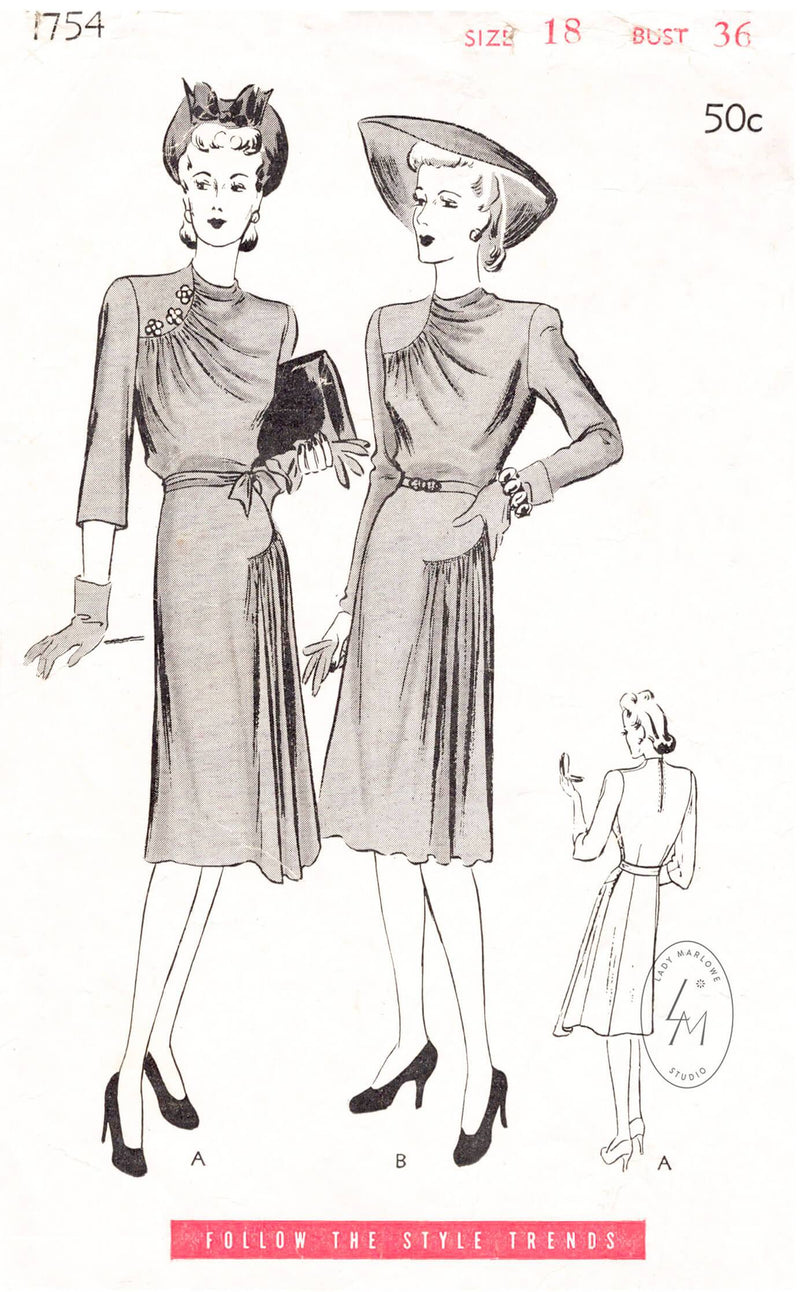 1940s dress vintage sewing pattern Butterick 1754 draped collar curved seams reproduction