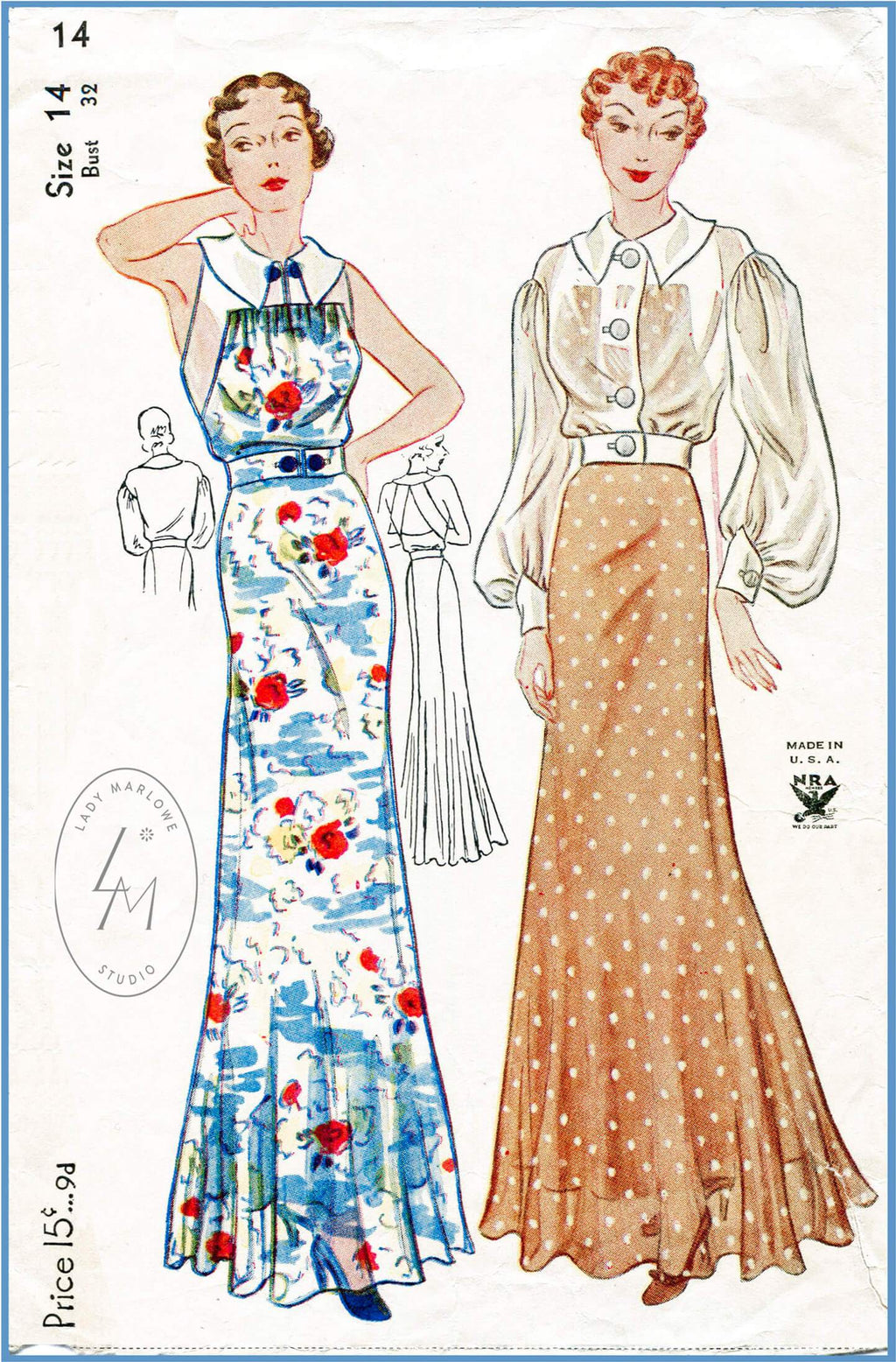 Simplicity 1754 1930s vintage sewing pattern 1930 30s evening dress