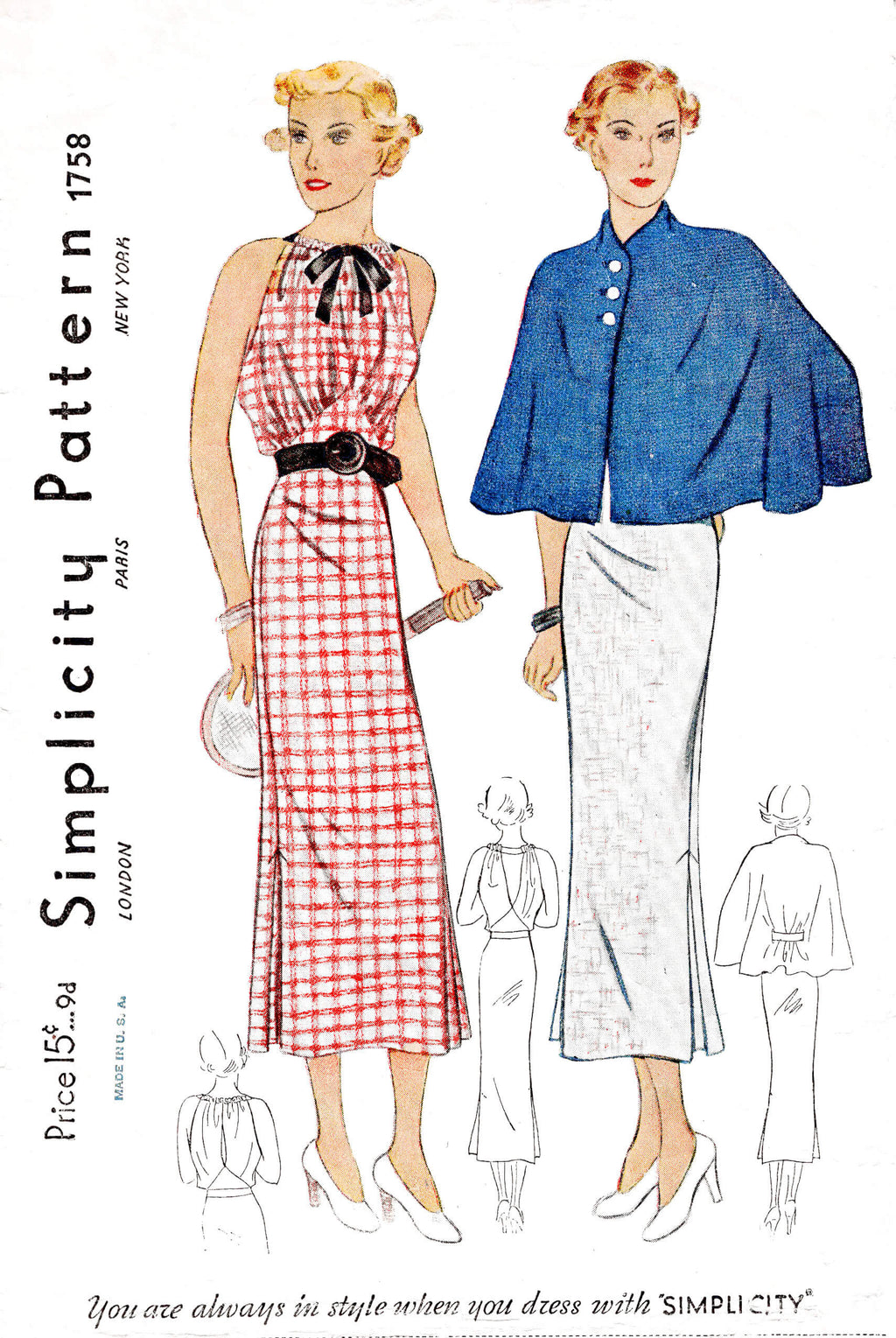 1930s 30s Simplicity 1758 open back sleeveless sports dress and capelet drawstring neckline vintage sewing pattern reproduction