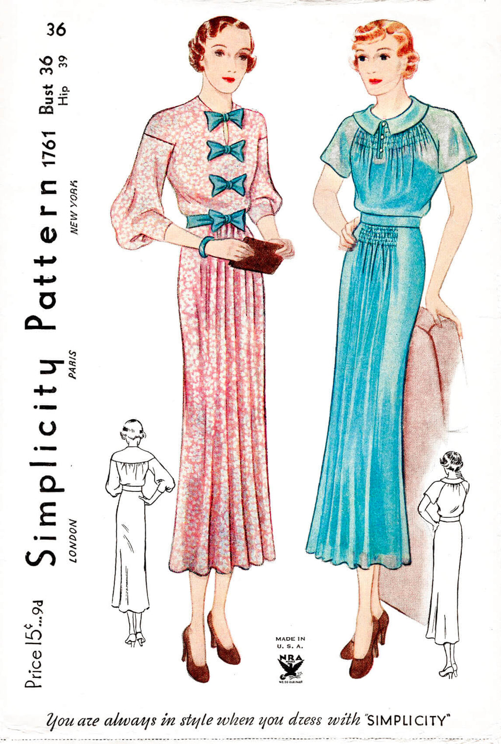 1930s 30s Simplicity 1761 drop shoulder or raglan sleeves shirring and bow detail dress vintage sewing pattern reproduction