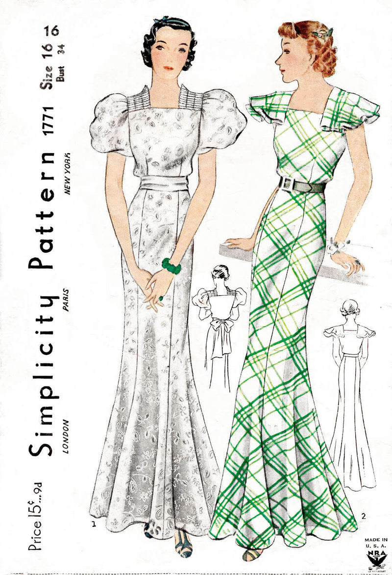 1930s 30s Simplicity 1771 evening dress floor length gown puff or frill sleeves vintage sewing pattern reproduction