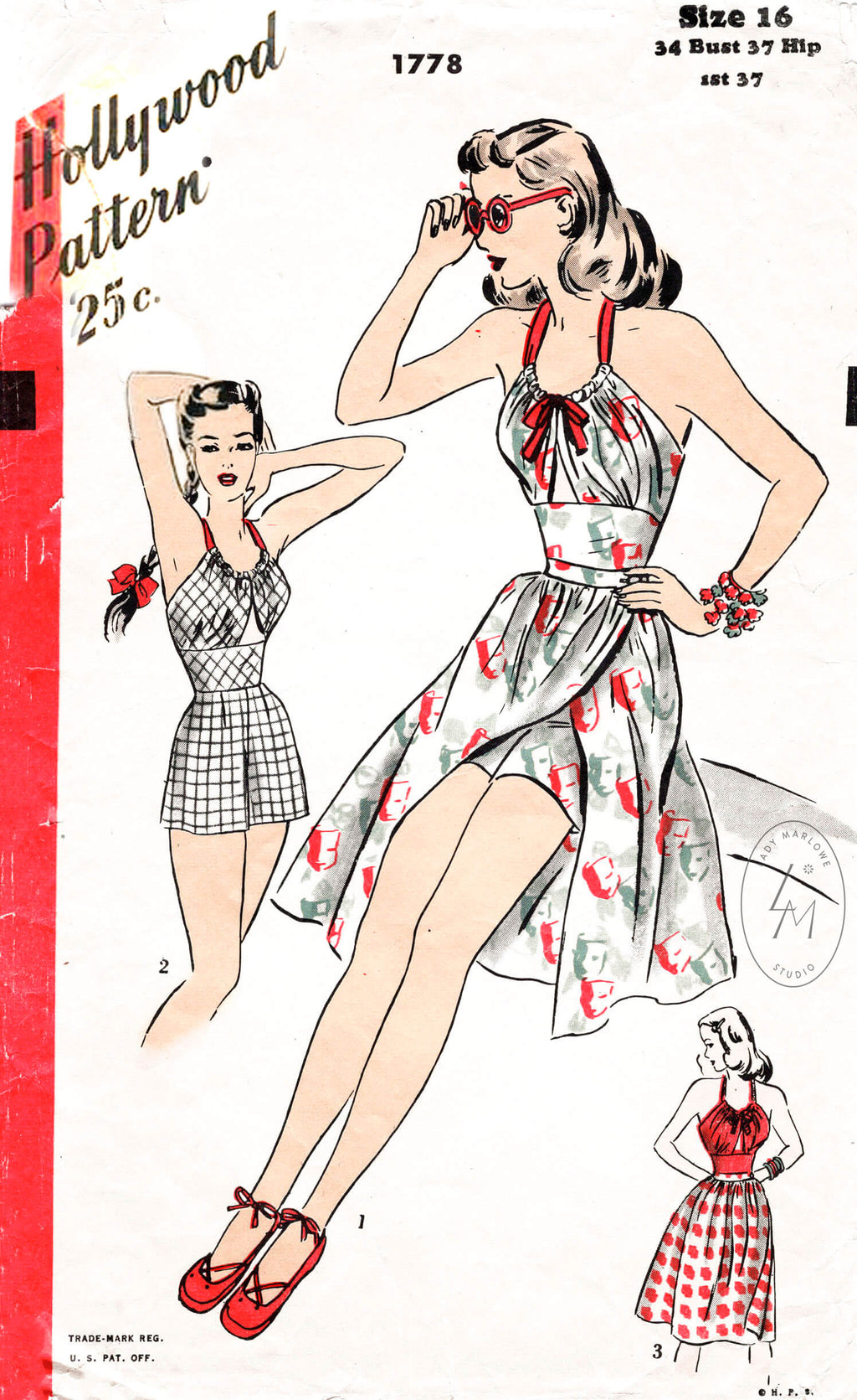 Hollywood 1778 1940s beachwear vintage sewing pattern repo playsuit romper and wrap skirt