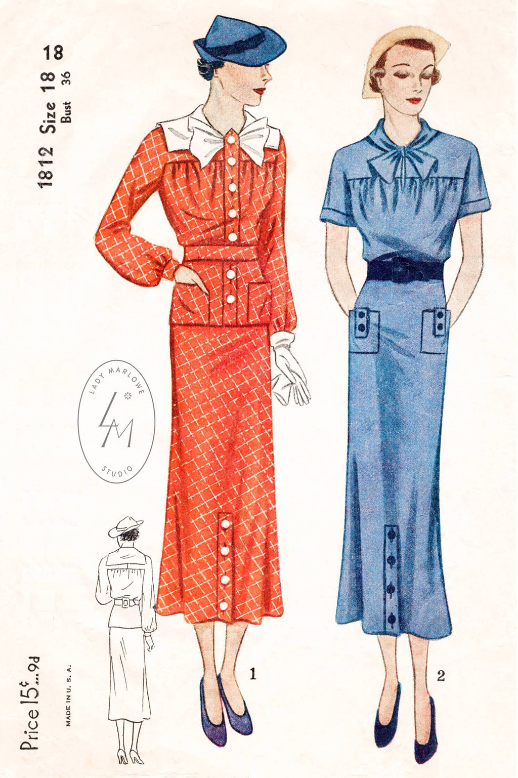 Simplicity 1812 vintage sewing pattern 1930s 30s dress blouse & skirt