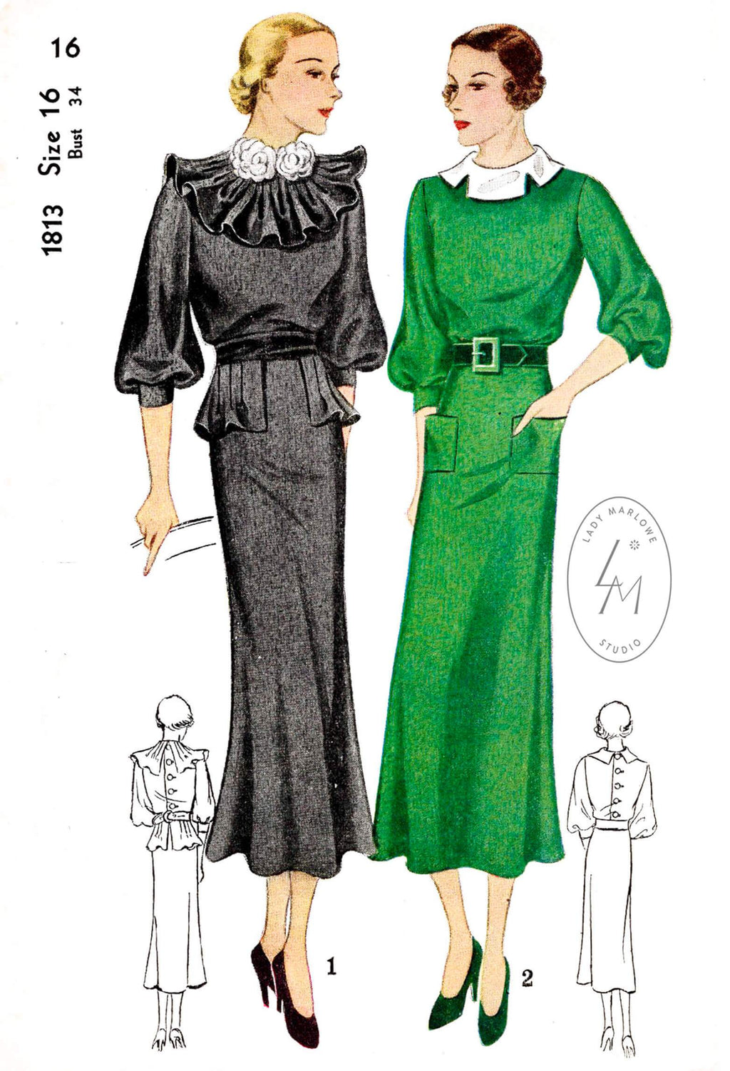 1930s 30s Simplicity 1813 day or afternoon dress ruffle collar elbow length bishop sleeves vintage sewing pattern reproduction