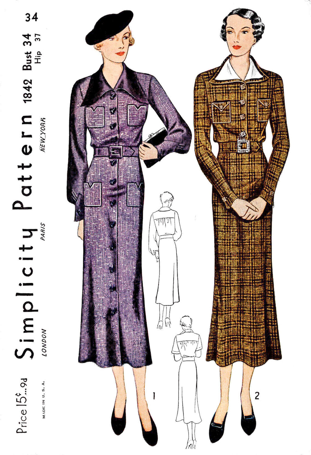1930s 30s dress Simplicity 1842 point collar art deco details vintage sewing pattern reproduction