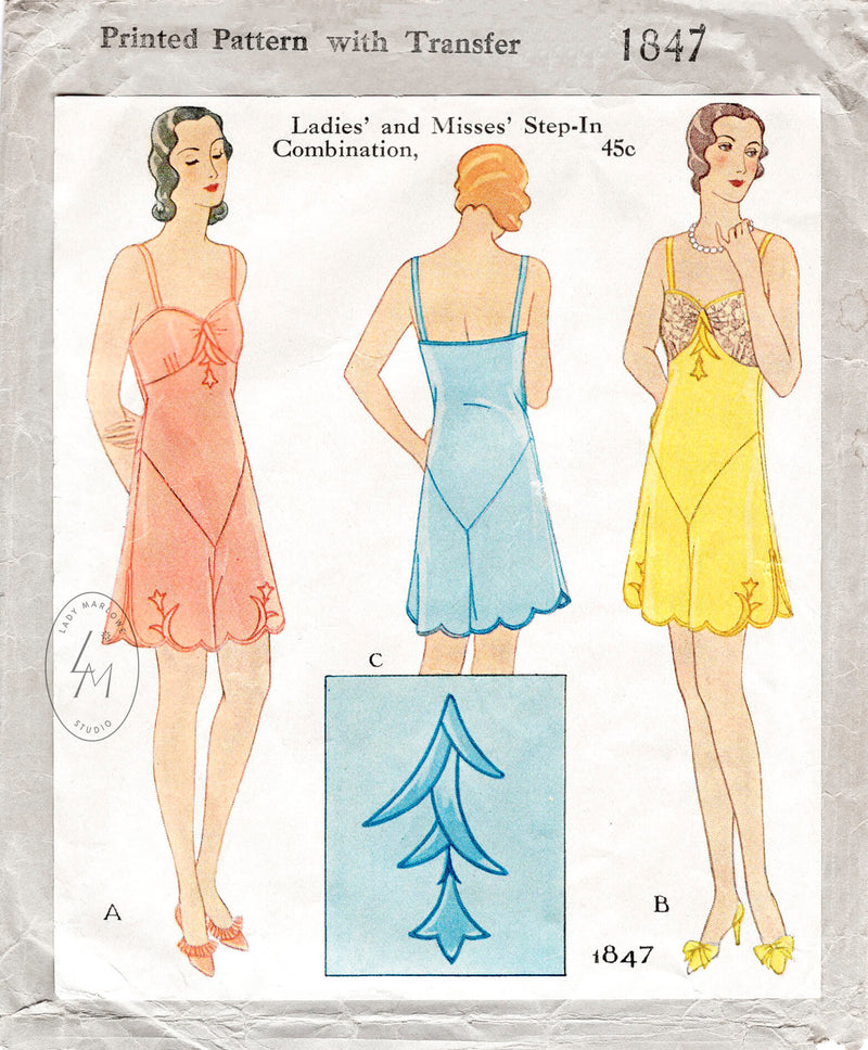McCall 1847 1930s 1931 vintage lingerie sewing pattern step in teddy romper
