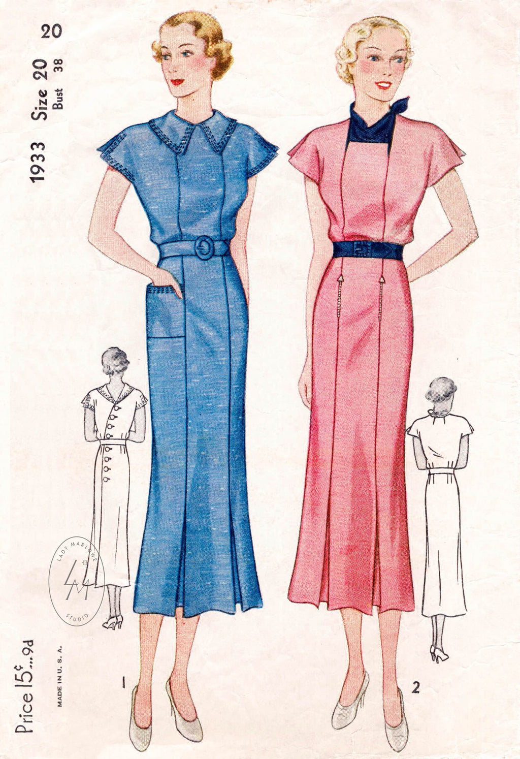 Simplicity 1933 1930s vintage dress sewing pattern 1930 30s