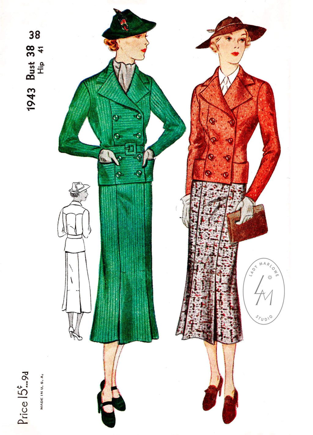 1930s 30s Simplicity 1943 2 piece suit and skirt ensemble double breasted jacket gored skirt vintage sewing pattern reproduction