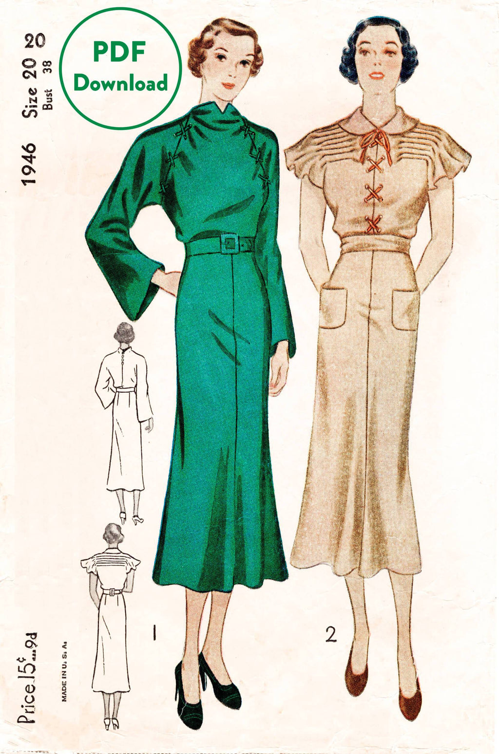 Simplicity 1946 1930s day dress vintage sewing pattern 1930