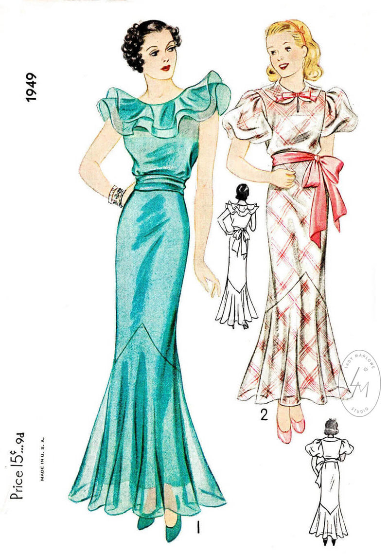 1930s 1936 Simplicity 1949 evening gown dinner dress tiered ruffles puff sleeves peter pan collar vintage sewing pattern reproduction