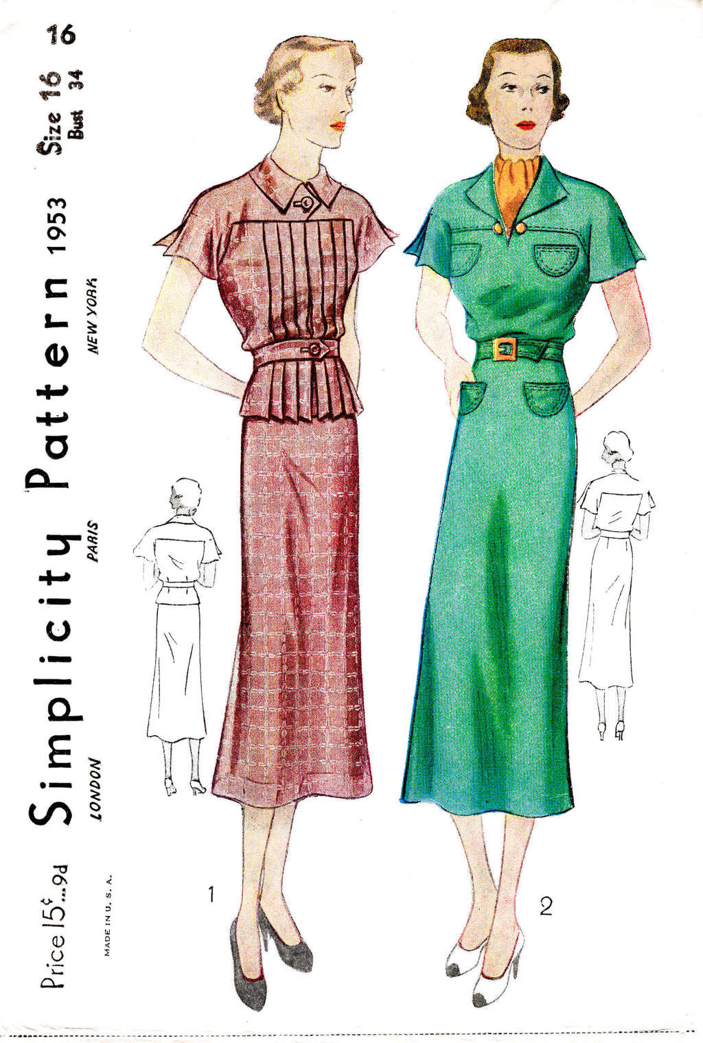 1930s 30s blouse skirt & dress flutter sleeves vintage sewing pattern reproduction