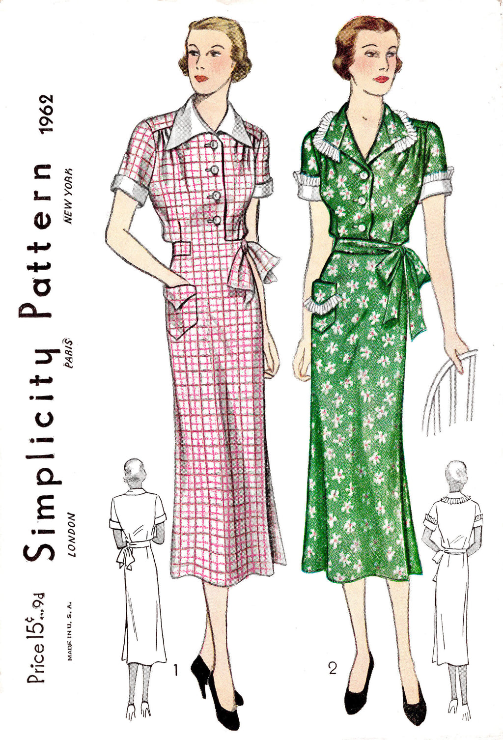 1930s 30s apron dress Simplicity 1962 work dress wrap skirt vintage sewing pattern reproduction