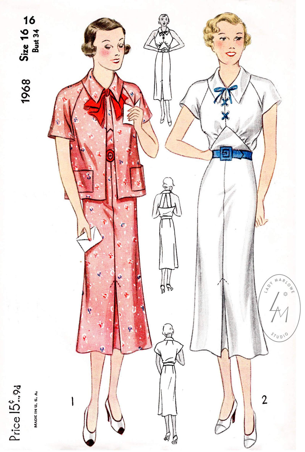 Simplicity 1968 1930s sports dress vintage sewing pattern