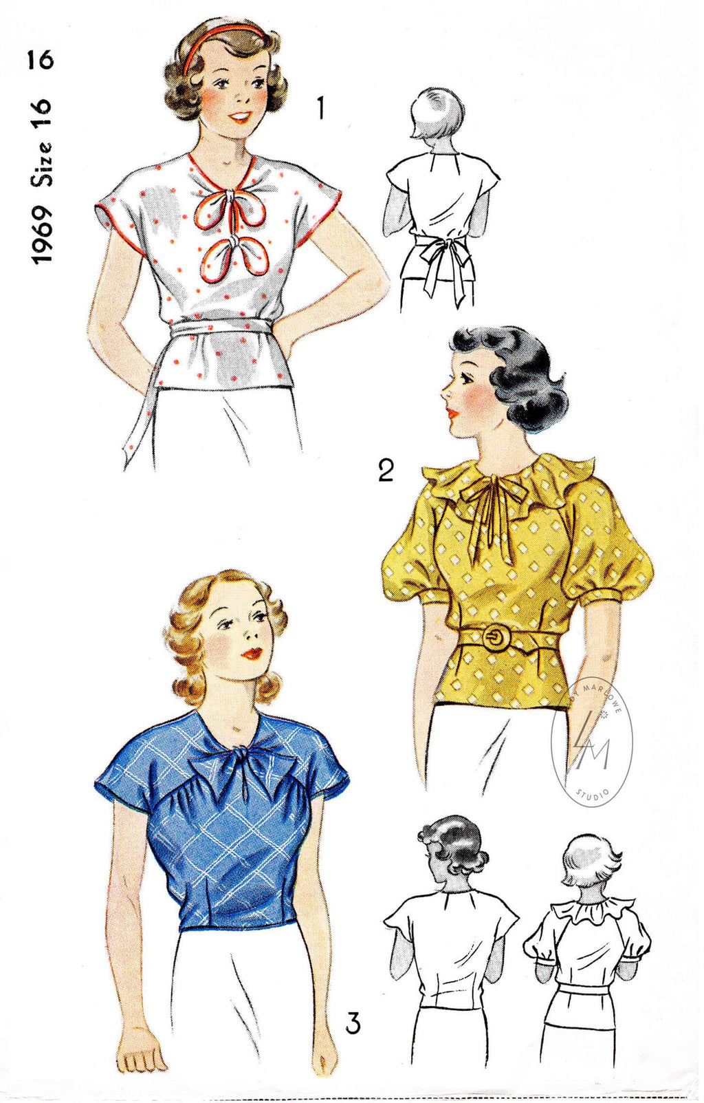 1930s 1936 set of blouses Simplicity 1969 drop shoulder bow accents puff sleeves ruffle collar raglan sleeve vintage sewing pattern reproduction
