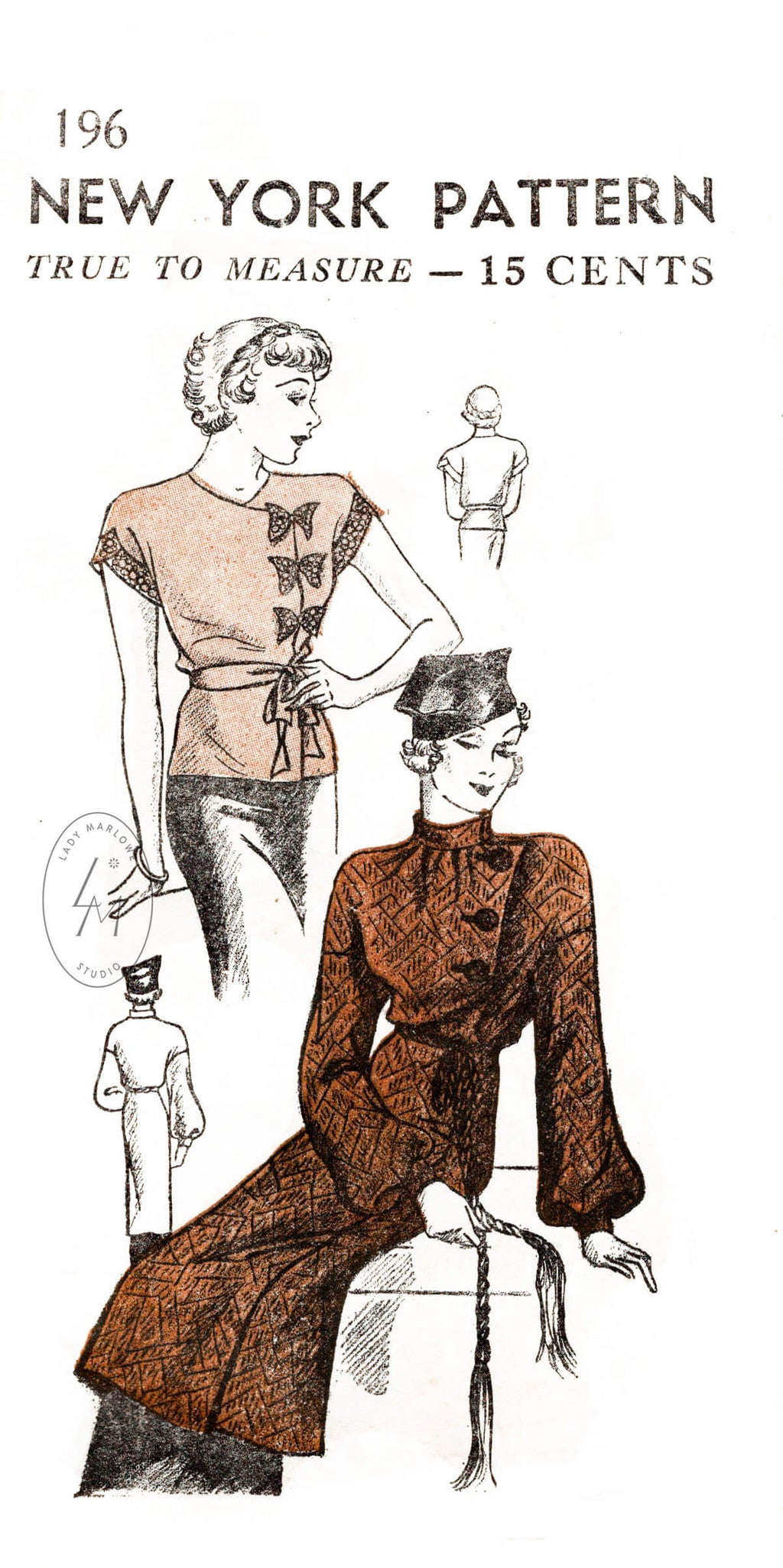 New York Pattern 196 1930s blouse and jacket vintage sewing pattern