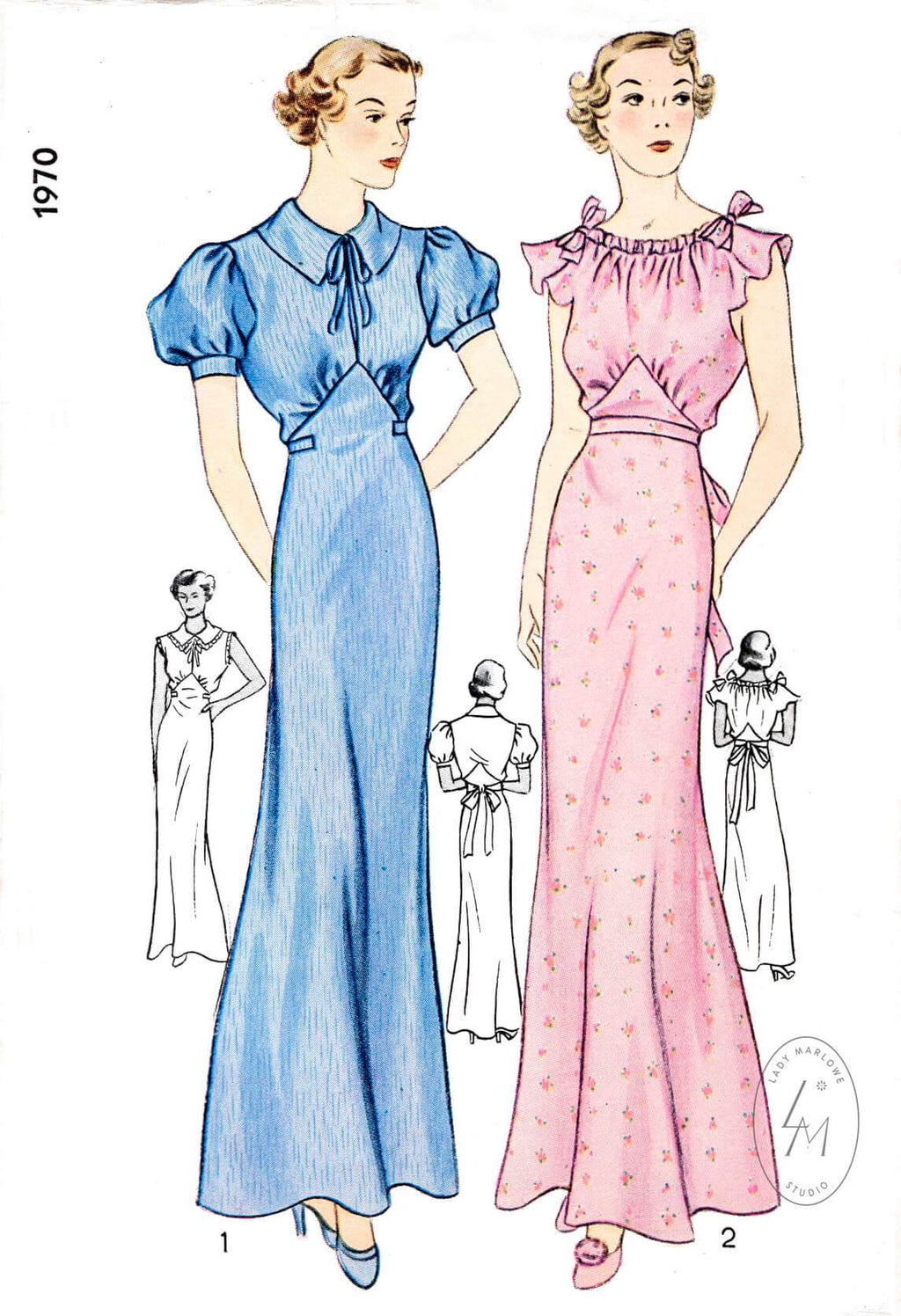 Simplicity 1970 1930s 1936 evening negligee flutter sleeves vintage sewing pattern reproduction